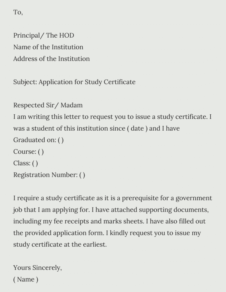student certificate format